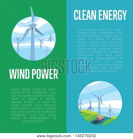 Clean energy and wind power vertical banners, vector illustration. Wind turbines in green field on background of blue wavy sky. Production energy from wind. Eco generation. Renewable resources.