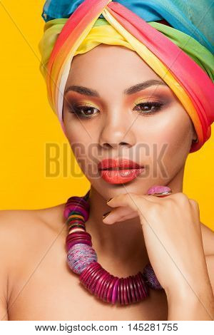 Portrait Of African Ethnic Girl With Turban