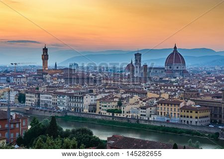 Florence city skyline during sunset at Italy