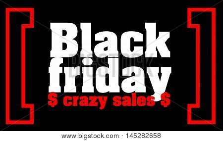 Black Friday sale text Black Friday sale inscription on black background with red ribbons for shops or design