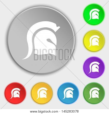 Spartan Helmet Icon Sign. Symbol On Eight Flat Buttons. Vector