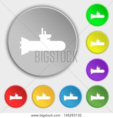 Submarine Icon Sign. Symbol On Eight Flat Buttons. Vector