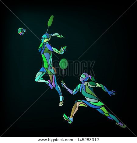 Creative color Professional Badminton players. Vector illustration. Two girls, women doubles championship banner template Eps10