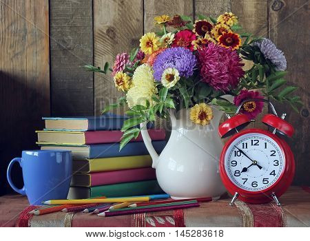 Bouquet and book. Back to school. September 1 knowledge Day. The teacher's day.