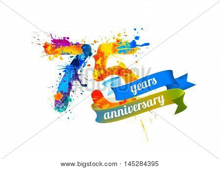 75 (seventy five) years anniversary. Vector watercolor splash paint