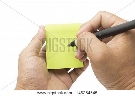 writting on green paper on white background isolated