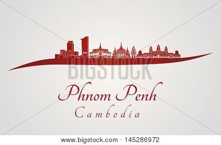 Phnom Penh skyline in red and gray background in editable vector file
