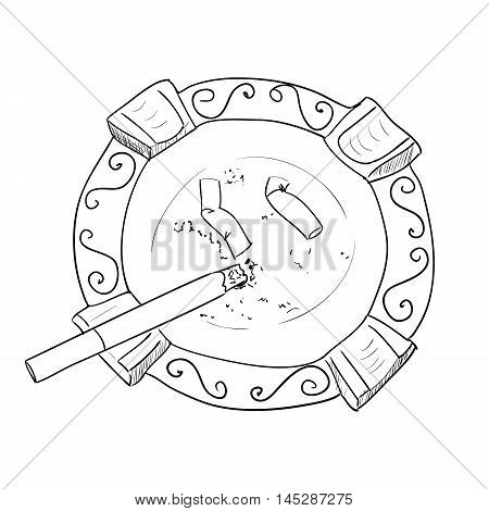 Vector sketch ashtray with cigarette. Hand draw illustration.