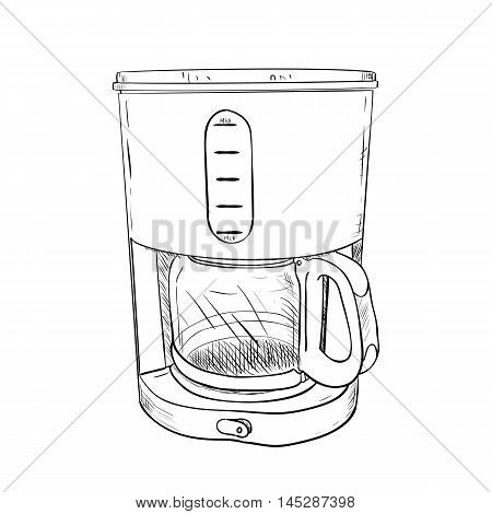 Vector Sketch Of Electric Coffee Maker