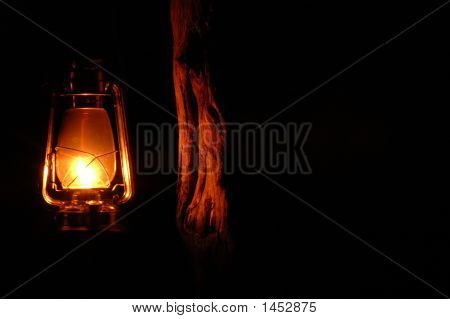 Soft Light From A Kerosene Lamp.