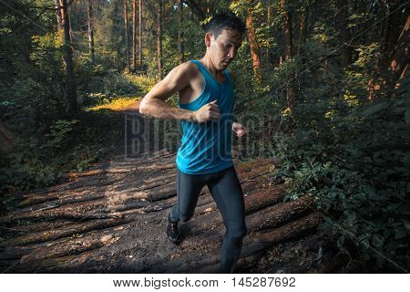 Trail running athlete moving through the forest and crossing wood barrier