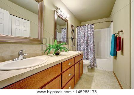 Long Double Sink Bathroom Vanity With Drawers.