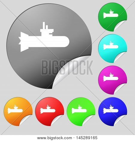 Submarine Icon Sign. Set Of Eight Multi Colored Round Buttons, Stickers. Vector