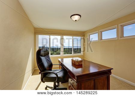 Upstairs Home Office Interior Design In Yellow Tones.
