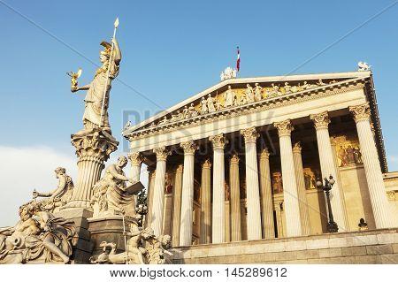 Parliament of Austria in Vienna. Vienna Austria.