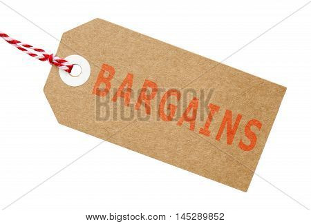 Bargains tag made from recycled card in red and white with string on an isolated white background with a clipping path