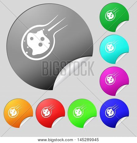Flame Meteorite Icon Sign. Set Of Eight Multi Colored Round Buttons, Stickers. Vector