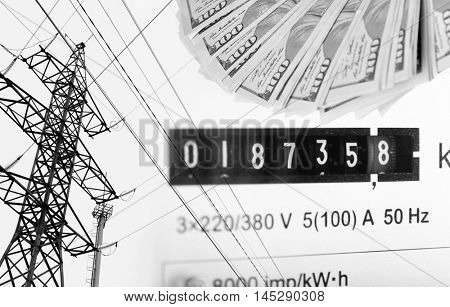 High voltage tower lines, electric meter display and american dollars.