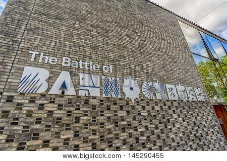 BANNOCKBURN SCOTLAND - August 29 2016: Distinctive sign at the entrance to the Battle of Bannockburn visitor centre near Stirling Scotland.