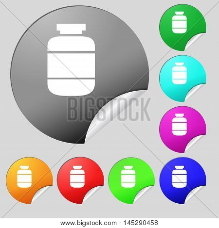 Medication Icon Sign. Set Of Eight Multi Colored Round Buttons, Stickers. Vector