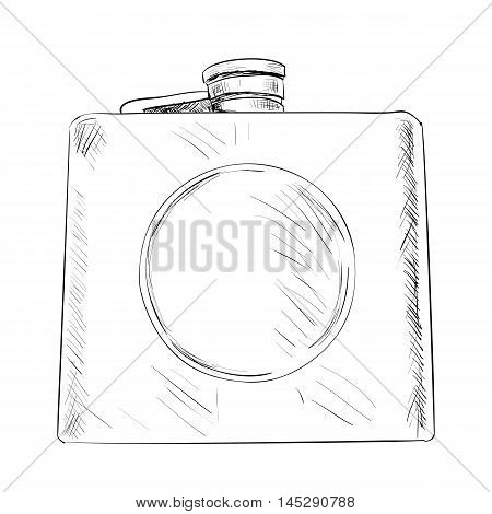 Vector Sketch Of Military Or Hunting Flask