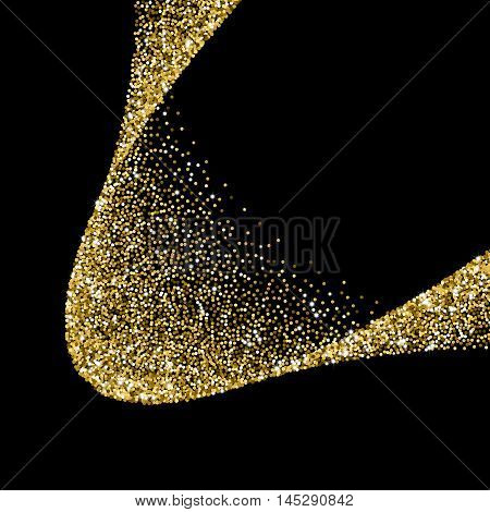 Glitter abstract wave of scattered golden confetti