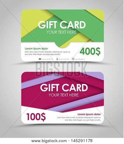 Design Of Gift Cards In Style Of Material Design