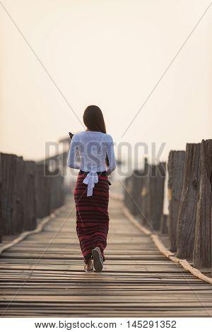 Portrait Of Smiling Beautiful Young Burmese Woman