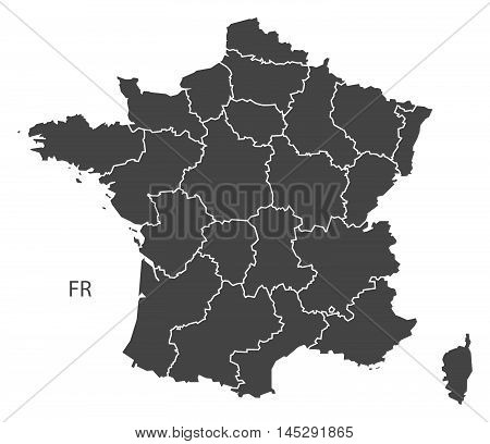 France map with regions grey vector isolated high res