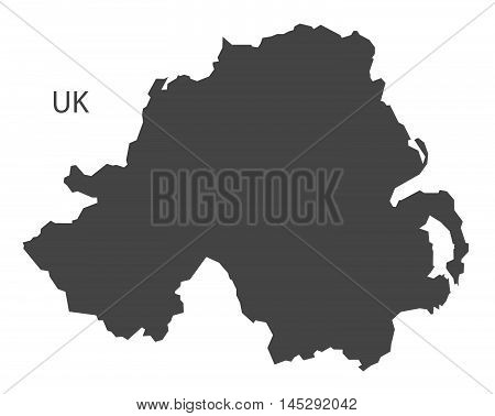 Northern Ireland map grey vector isolated high res