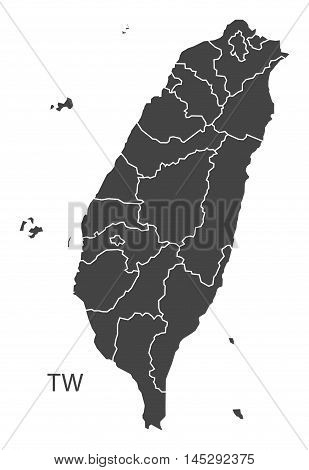 Taiwan map with counties grey vector isolated high res