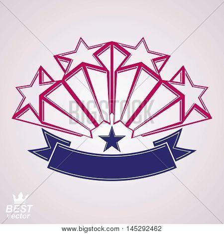 Vector corporate design element celebrative stars web emblem with decorative curvy ribbon.. Union and solidarity theme