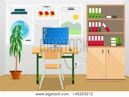 Office interior with business desk and furniture. Vector illustration.