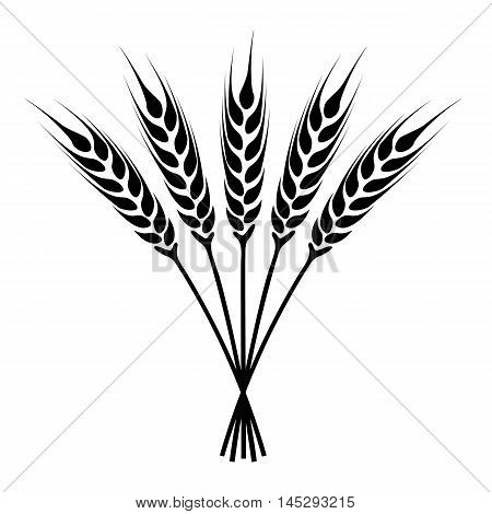 silhouette ears of wheat icon. Crop symbol isolated on white background. Vector illustration.