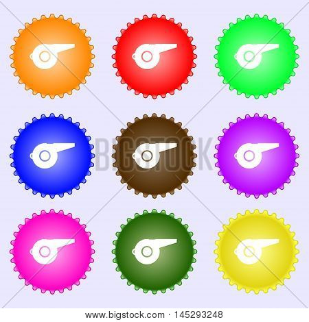 Whistle Icon Sign. Big Set Of Colorful, Diverse, High-quality Buttons. Vector