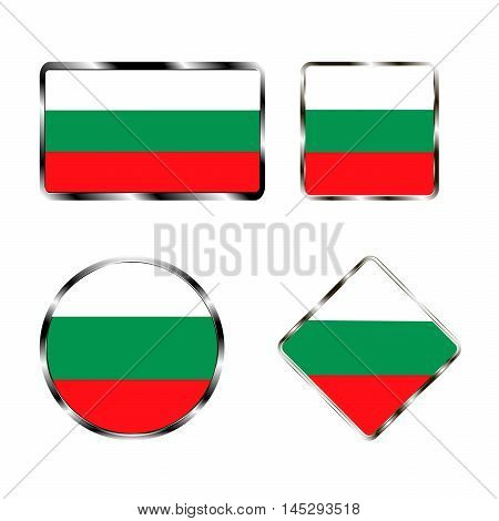 Vector illustration of logo for the country of Bulgaria.Isolated in the drawing consists of flag chrome frame contingent European design on a white background.Badge for government states atlas map