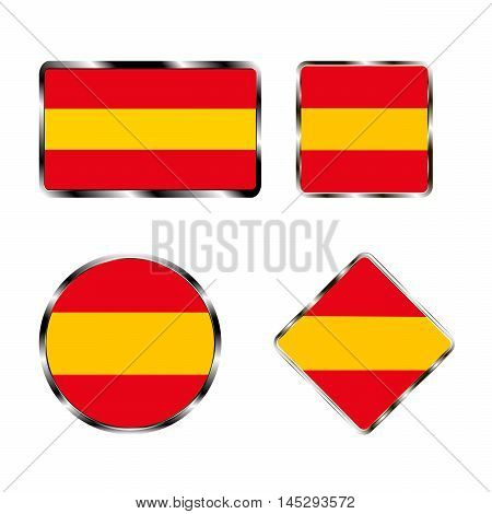 Vector illustration of logo for the country of Spain. Isolated in the drawing consists of flag chrome frame contingent European design on a white background. Badge for government states atlas map