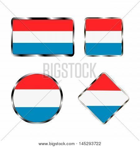 Vector illustration of logo for the country of Luxembourg. Isolated in the drawing consists of flag chrome frame contingent European design on a white background. Badge for government states atlas map