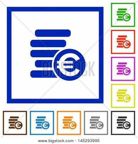 Set of color square framed euro coins flat icons