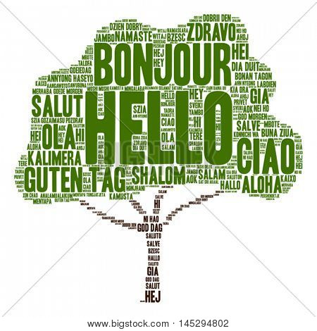 Vector concept conceptual abstract tree hello or greeting international word cloud in different languages or multilingual metaphor to world, foreign, worldwide, travel, translate, vacation or tourism
