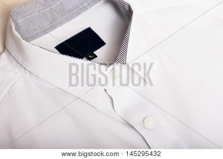 Close-up collar white business shirt. formal shirt