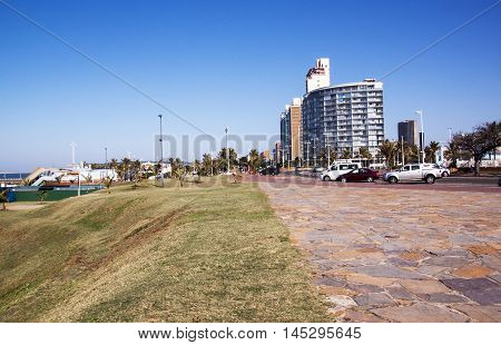 Grass Verge And Paved Walkway On Beach Front