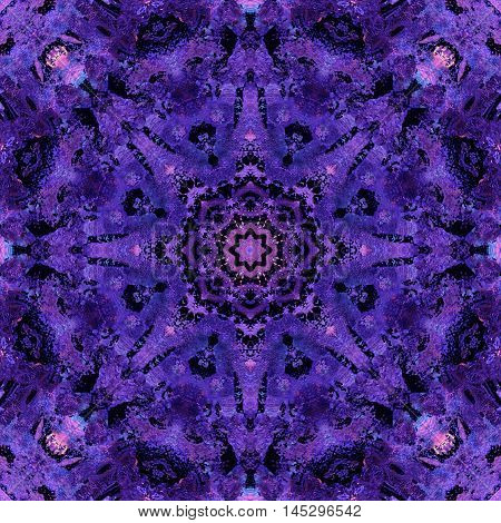 Purple Mandala with art handmade texture. Kaleidoscopic sacred geometry element. Alchemy religion philosophy astrology and spirituality themes. Magic abstract sign. Universal background for everything.