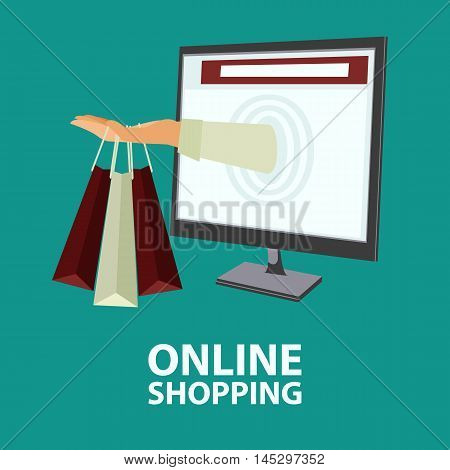 Hand delivers shopping bags with the purchased goods out from monitor. E-commerce online shopping buying internet concept in flat style. Vector illustration easy to edit