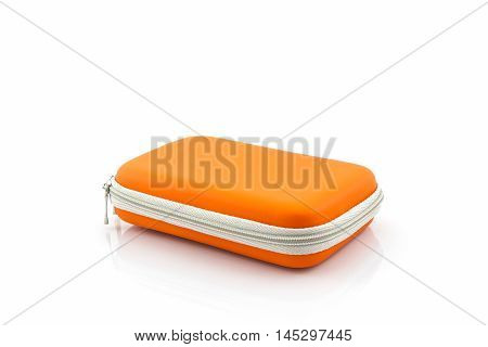 External hard drive carrying case. Bag for external hard drive on a white background.