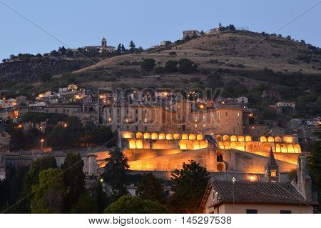 A night view of the City of Palestrina - Rome