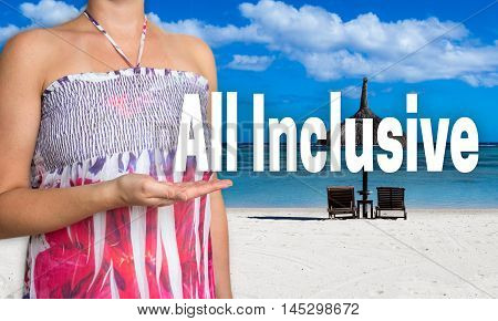 All Inclusive Concept Is Presented By Woman On The Beach