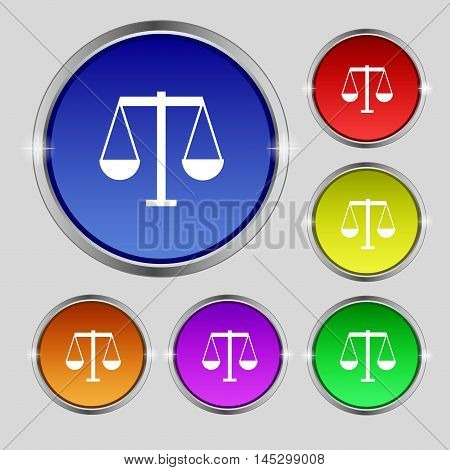 Scales Of Justice Icon Sign. Round Symbol On Bright Colourful Buttons. Vector