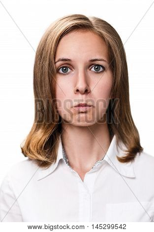 Young woman doing a pout expression isolated on white background