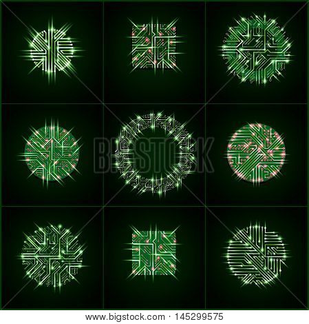 Collection Of Vector Microchip Designs, Cpu. Information Communication Technology Elements With Spar